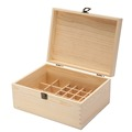 unfinished squared shaped small size pine wood essential display box for holding 26 oils