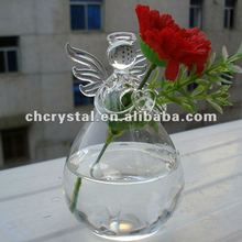 MH-12636 Angel shaped hanging glass vase terrarium angel hanging angels vase