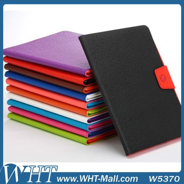 PU Leather Case for iPad 2 3 4 Luxury Contrast Color Stand Cover Crossing Pattern