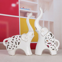 Ceramic elephant decoration wholesale/ modern ceramic elephant with Outline in gold for interior decoration