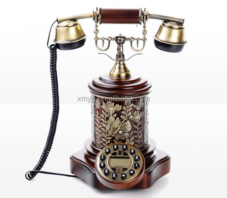 Wood Craft Handmade Antique Corded Telephone Desk Decor, Home Decor