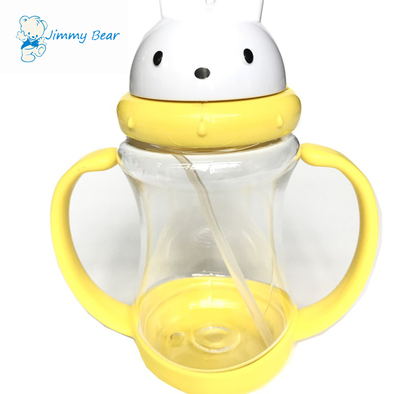 Plastic baby training cup with handles and straw