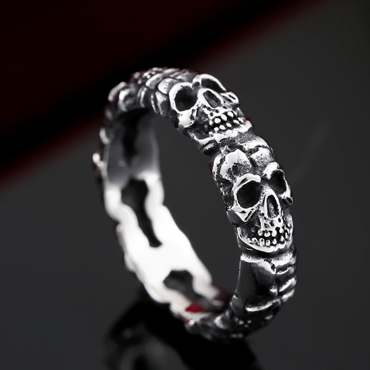 Gothic Style Stainless Steel Antique Mens Designers Skull Finger Rings Wholesale