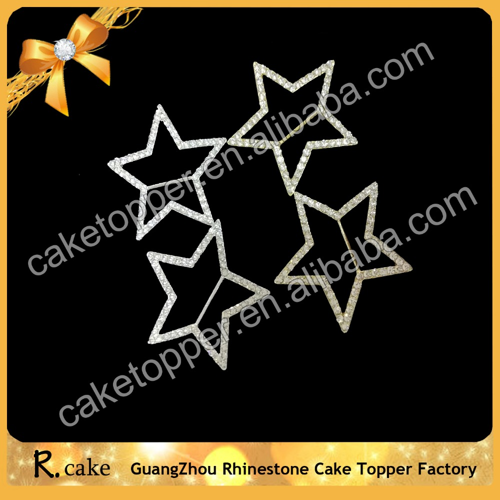 Wholesale elegant five pointed star metal crystal rhinestone buckle decorate for hair, invitation card