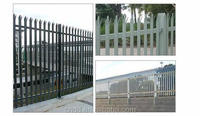Galvanized square metal fence posts with pvc slat fence