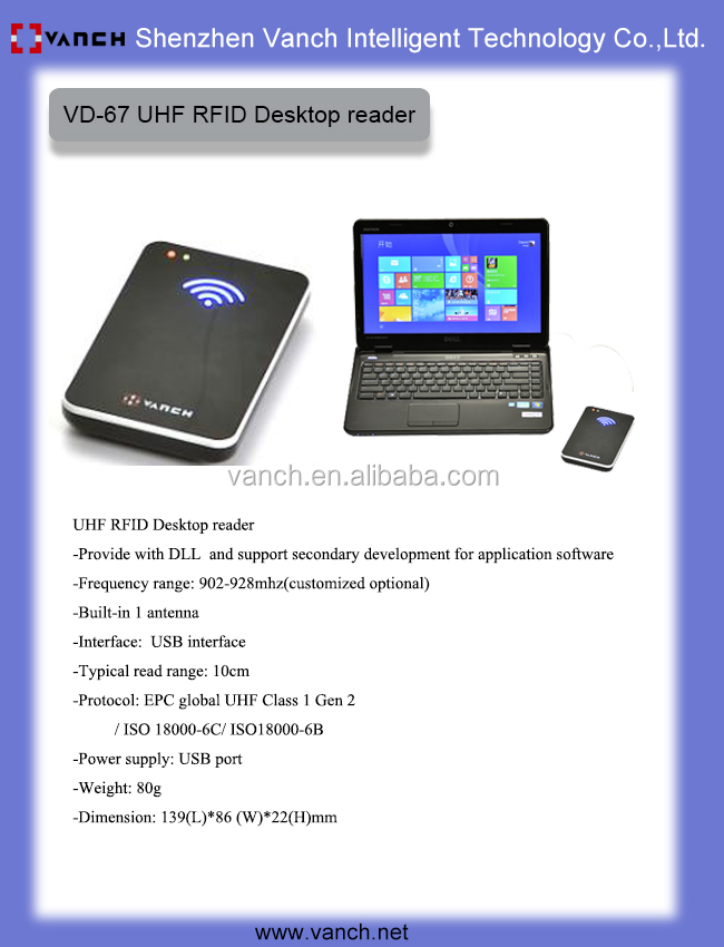 USB 2.0 desktop uhf rfid reader writer 860-960 Mhz build-in 2 dBi antenna + Free SDK source code ISO18000-6C/ 6B Vanch