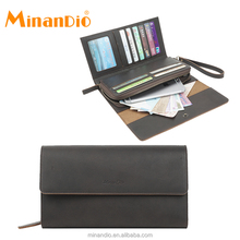 MINANDIO new designer classical mens multi purpose mighty minimalist 3 fold leather wallet with chain
