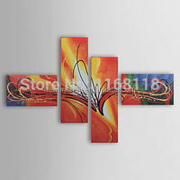 Free Shipping Hand-painted landscape abstract floral art Painting orchid wall art - Set of 4 piece canvas art