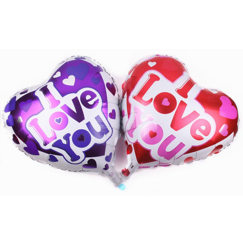 Wedding decoration series hot design aluminum 18inch foil heart love huge kiss purple red confession lucky balloon for girls gif