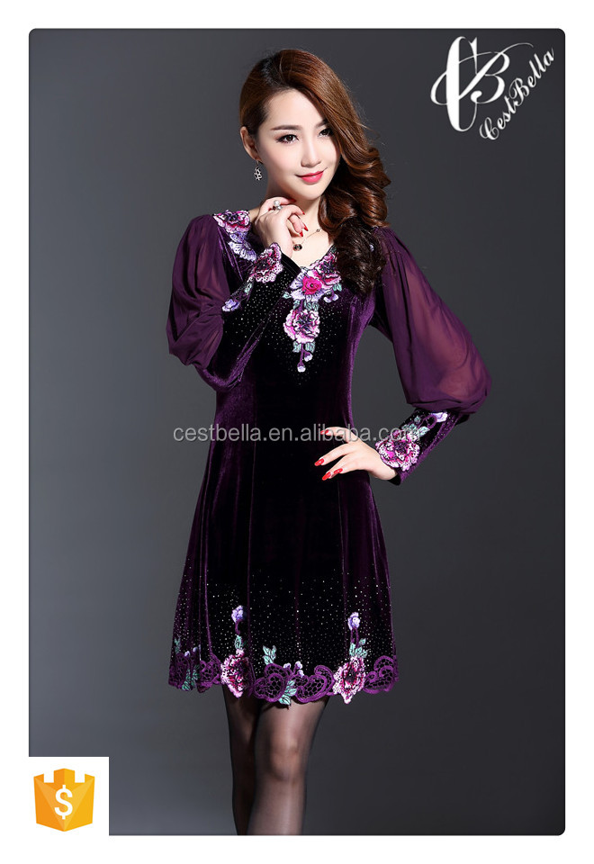 cheap wholesale western women printing Embroidered dress christmas dress
