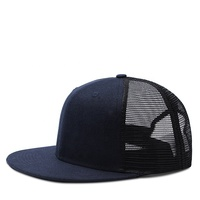 Design your own plain blank navy 6 panel snap back fitted flat brim trucker hat
