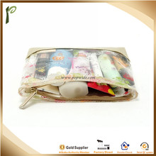 Popwide transparent clear high-qualty plastic zipper PVC cosmetic bag with PU bottom
