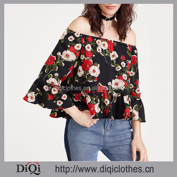 Latest designs china clothing factory wholesale girls fashion Black Flower Print Off The Shoulder Ruffle Tops
