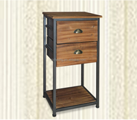 country style rustic fir wood 2 drawers industrial night stand