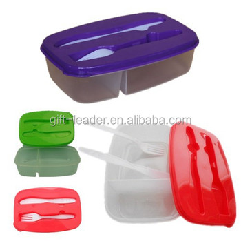 Plastic Food Container with knife and fork/Lunch Box