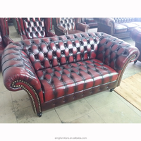 Antique Red Leather Living Room Chesterfield