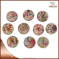 Coconut shell button 2.5cm round custom pattern for clothes