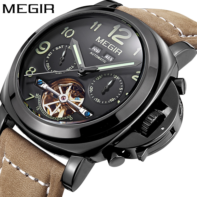 3206 Luxury Brand MEGIR Genuine Leather Watch Casual automatic winding watch automatic watches for <strong>men</strong>