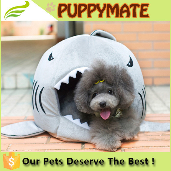 High quality shark shaped plush indoor cat houses soft indoor dog house shark bed