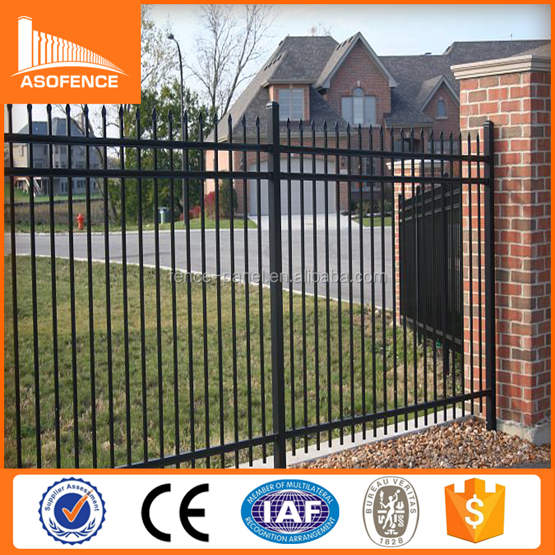 2.4 length 1.8m height black steel fence/galvanized steel fence gate/ black aluminum fence panel