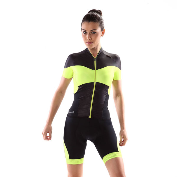 Monton PRO Angel yellow black wholesale cycling jersey for women