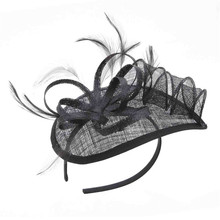 Factory Wholesale Hair Fower Feather Sinamay Fascinator Headband