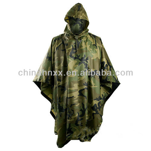 military woodland camouflage poncho raincoat suit waterproof suit