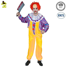 wholesale scary horror costumes Adult man Killer Clown Halloween Jumpsuit Costume professional circus clown fancy dress