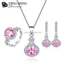 Unique designs ladies 925 sterling silver cz jewelry set for wedding