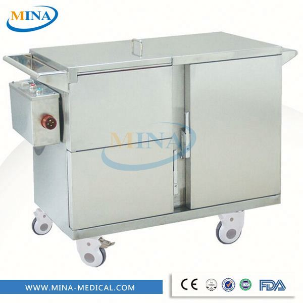MINA-FC004 movable Stainless steel electric heated type insulated food warmer trolley