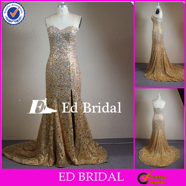 CN304 Real Picture 2014 Designer Heavy Beaded Side Slit Chapel Train Gold Color Evening Dress