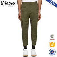 2017 Green Khaki Raw Leg Hem Men's Casual Pants Capri Style