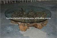 Rustic Wooden Root and Glass Top Coffee Table