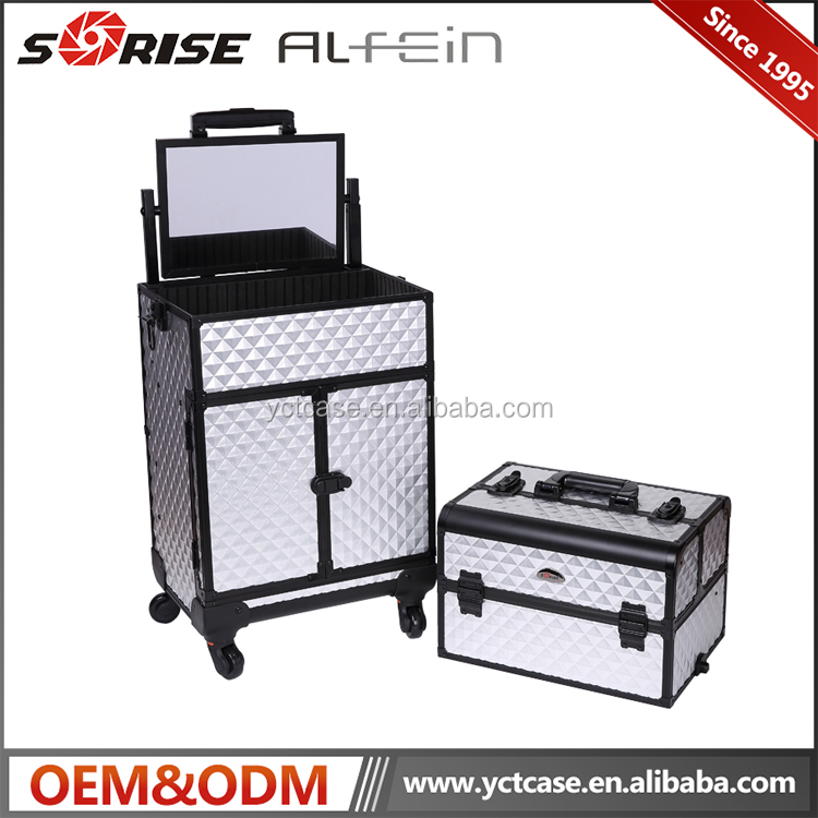 Professional beauty aluminum cosmetic pvc trolley makeup case