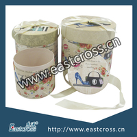 Round Gift Packaging Paper Box Set with Bowknot