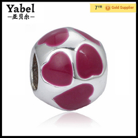 Fashion Jewelry Heart Enamel Round Large Hole 925 Sterling Silver European Beads Wholesale Latest Bracelet charms Designs