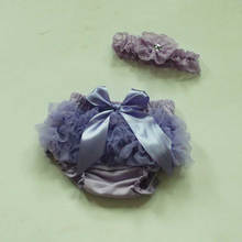 2017 Fashion Lavender Cotton Baby Girl's Bloomer + Headband Set Diaper Covers Baby Bloomers Set For Wholesale