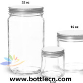 32oz 16oz clear glass laboratory jars with lined aluminum caps