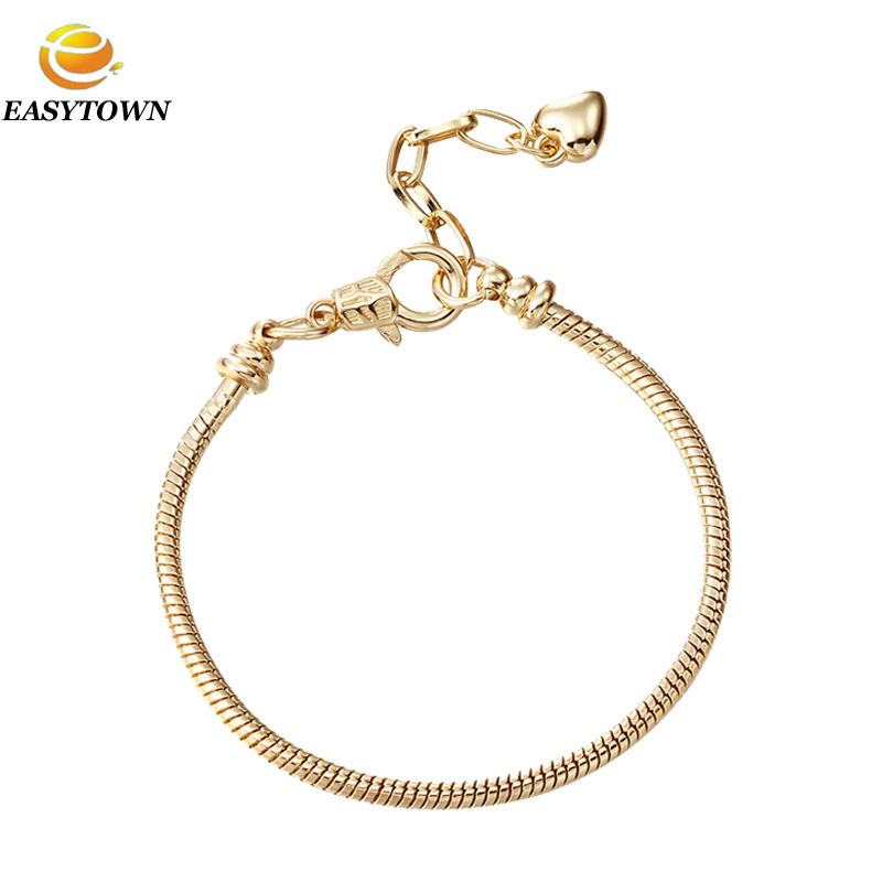 Wholesale gold Plated Heart Lobster Clasp Snake Chain Bracelets