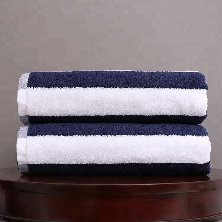 DPF Extra Large Thickness 100% <strong>Cotton</strong> Blue&White Stripe Beach Towel Swimming Towel