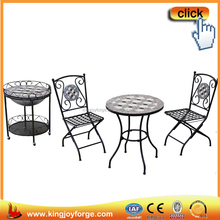 Outdoor folding metal chair mosaic table 3pcs bistro set