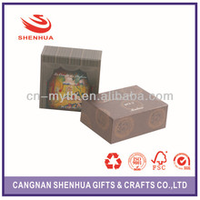 High quality custom printed paper packaging boxes with clear pvc window for wine bottle carrier