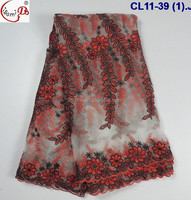 CL11-39 Modern design guangzhou african lace embroidery fabric/tulle embroidery lace