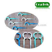 colored brand double dental floss pick with long handle