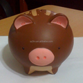 Cute brown color animal pig statue vinyl toys/custom design roto costing vinyl toy/making plastic PVC vinyl toys supplier