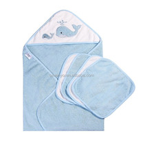 100% Organic Bamboo/cotton animal Baby Hooded Towel and Washcloths Bath Set, 5 Pack, blue Whale