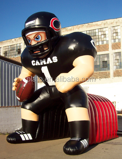 Customized giant inflatable football player model/ inflatable sport cartoon, football player mascot for event