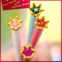 Best import stationery.2016 School popular Luxury crystal crown shaped gel pens colored in good quality cheap price