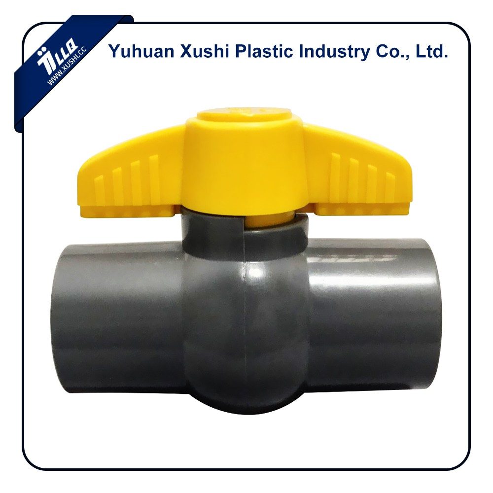 Plastic Socket Thread butterfly yellow handle gray body PVC Valve