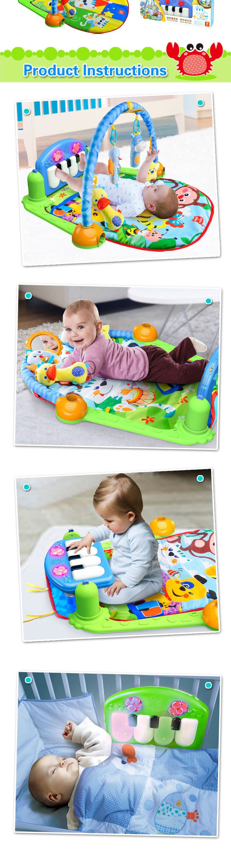 2016 high quality baby play mat baby gym for sale